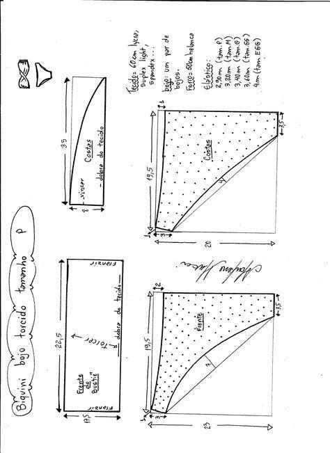 Biquíni bojo torcido | Ropa interior, Molde y Patrones de costura