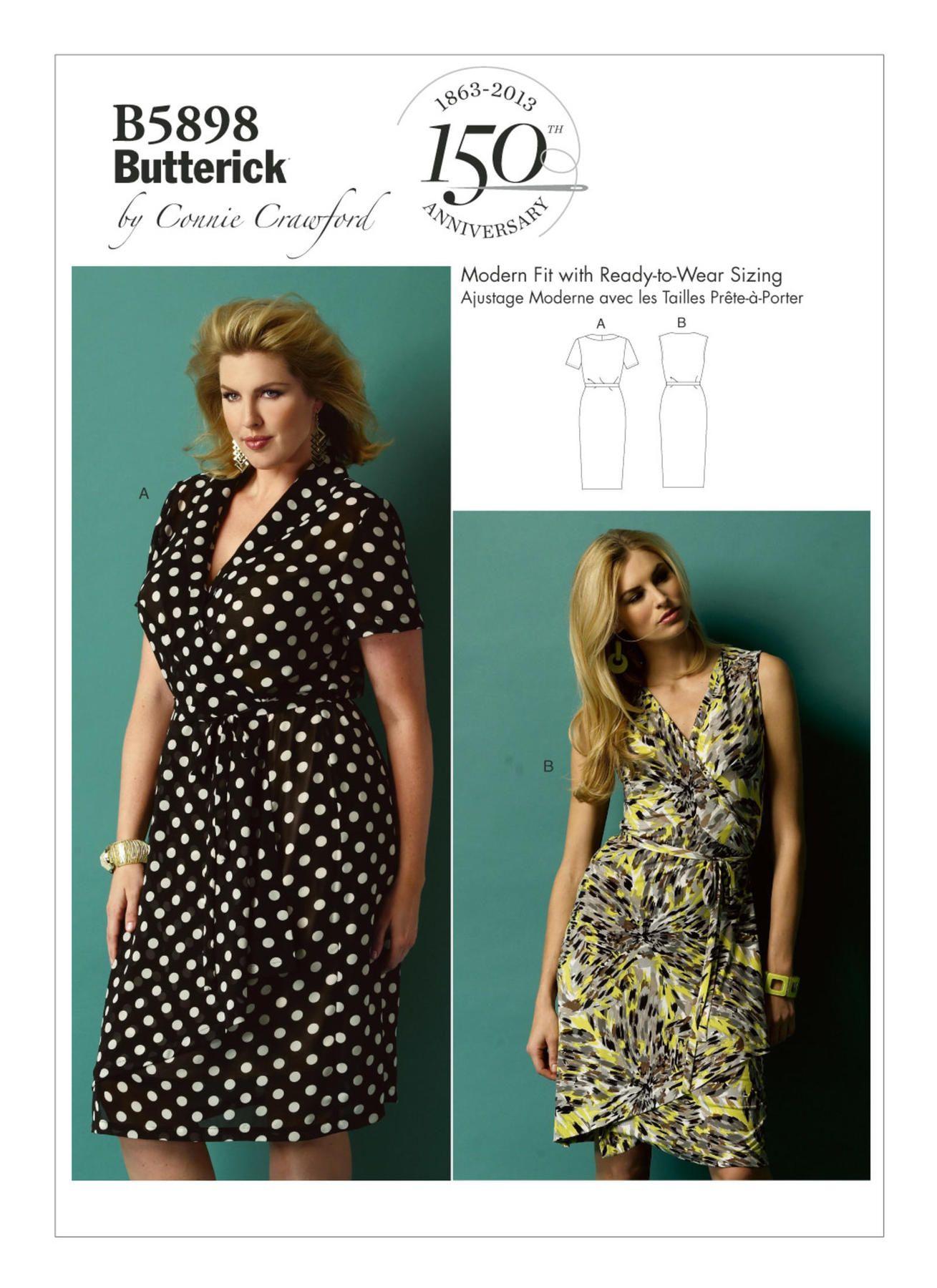 B5898 In 2021 Wrap Dress Sewing Patterns Sleeveless Wrap Dress Wrap Dress Pattern [ 1800 x 1309 Pixel ]