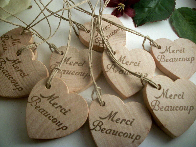 10 Wedding Favors Merci Beaucoup Herz Tags 1 34 Von Earthlyartz 7