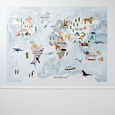 Watercolor World Map Decal Reviews Crate And Barrel In 2021 Water Color World Map Map Murals World Map Mural