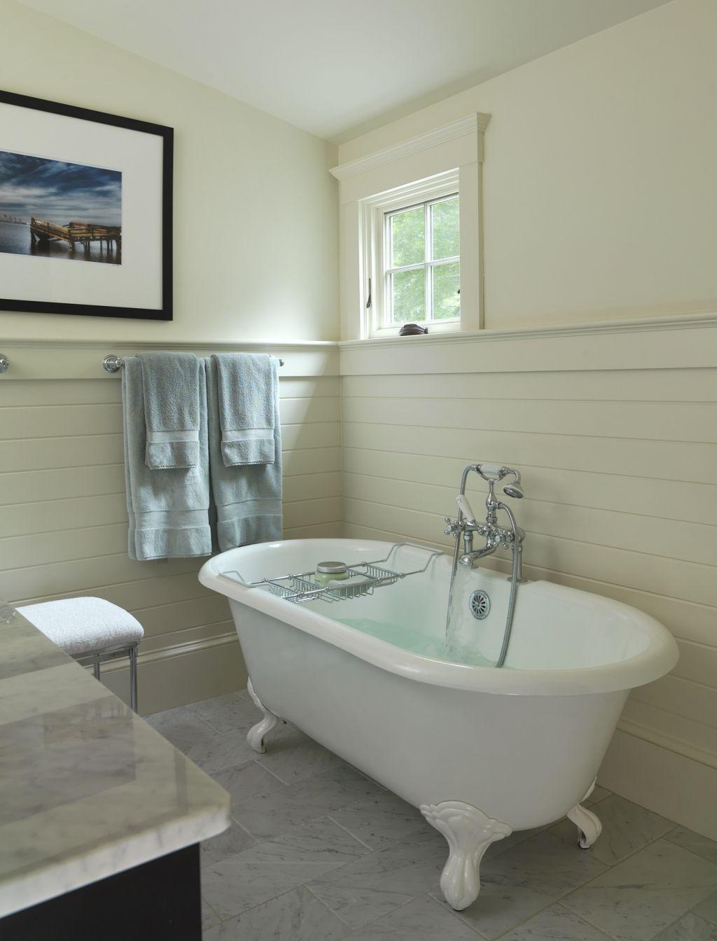 Guest bathroom - tongue and groove laid horizontally | Bathroom ...