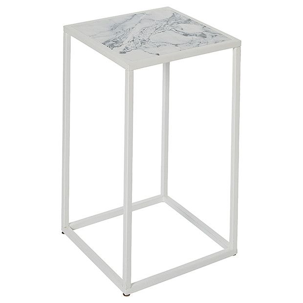 Small Side Table Faux Marble With White Metal