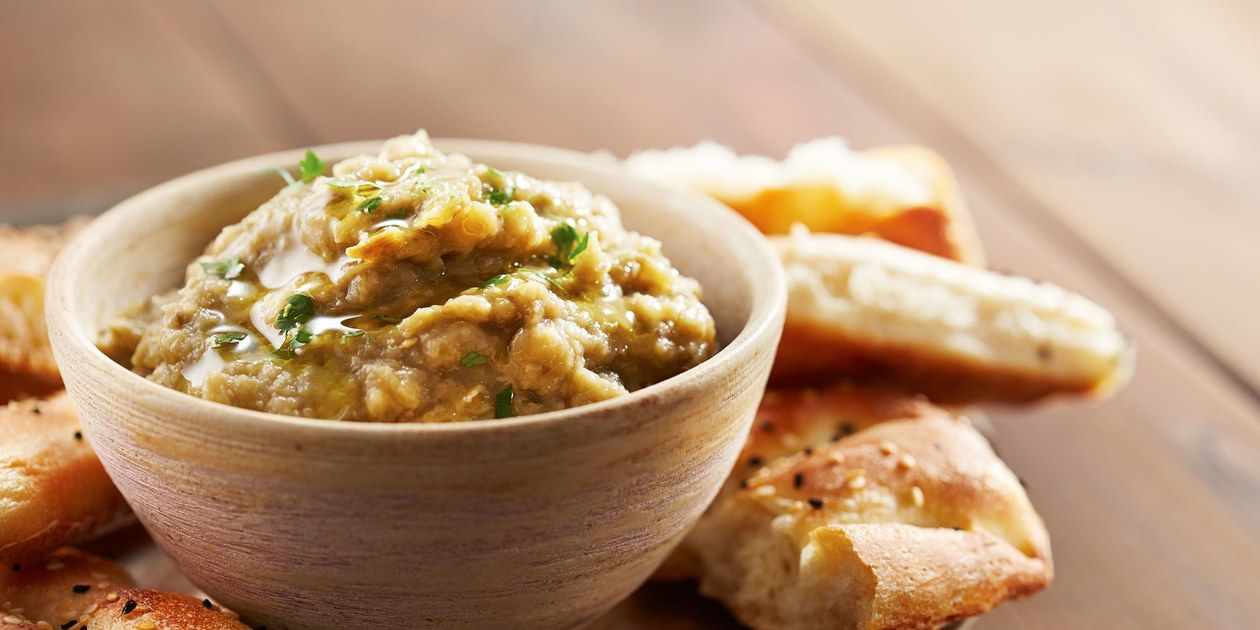 Indian Eggplant and Onion Dip with Pita Chips recipe | Epicurious.com