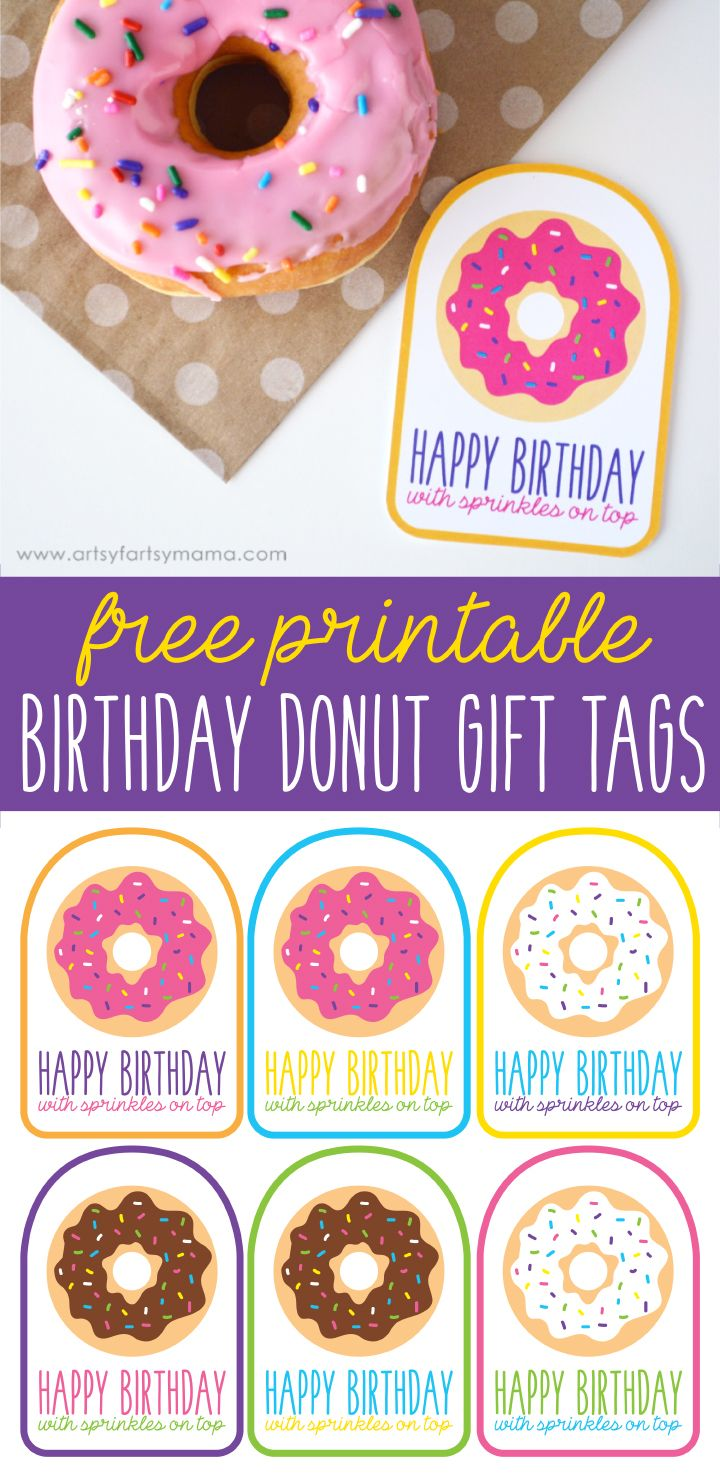 Free Printable Birthday Donut Gift Tags Donut Gifts Doughnut And