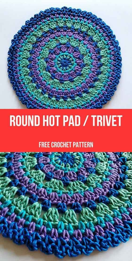 Round Hot Pad / Trivet Free Crochet Pattern - Daily Crochet Patterns