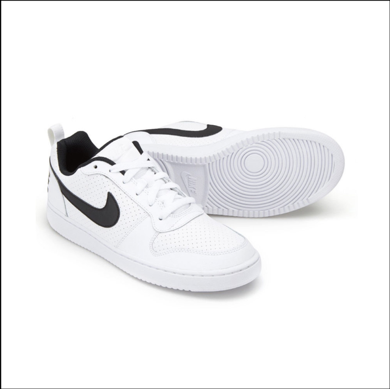 sale retailer 0cccd ef358 Nike Court Borough Low 838937-100 White Black Leather Casual Shoes Size 11 M