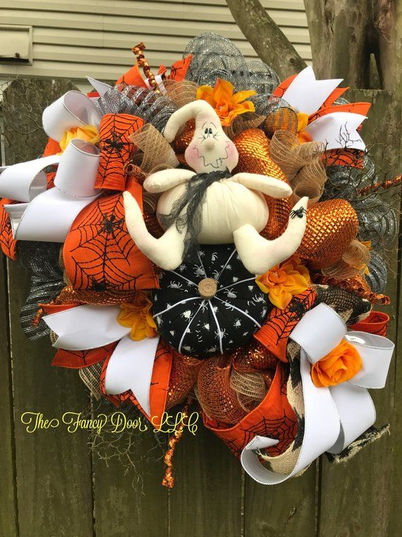 Ghost wreath, Halloween wreath, halloween decorations, halloween