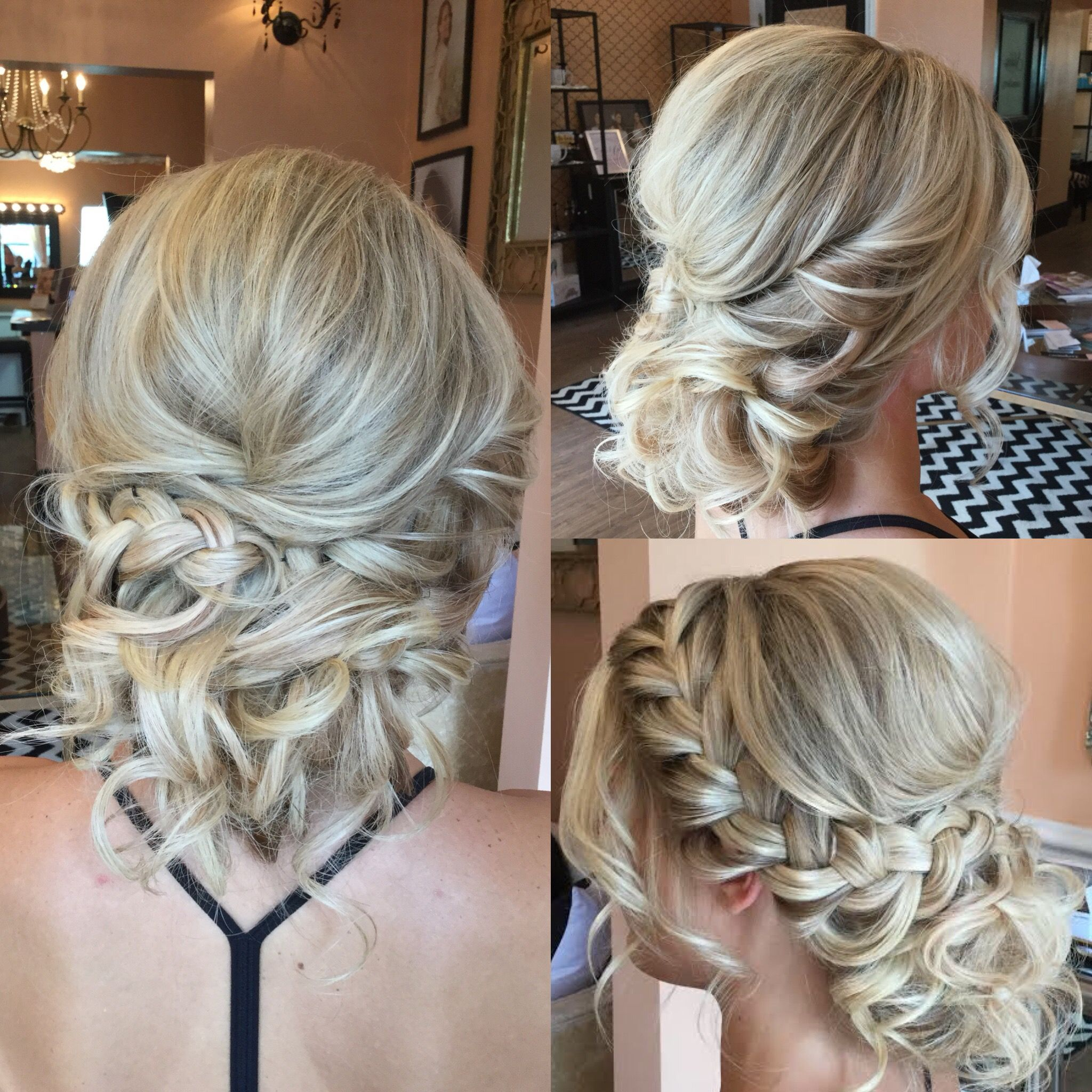 textured up-do for blondes with curls and side braid. bridal
