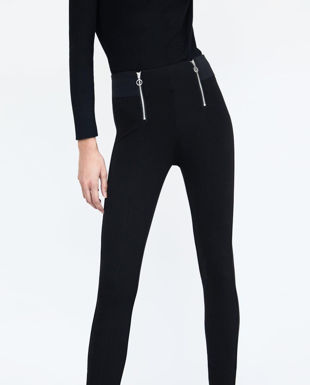 Zara Dan 2 Onu Fermuarli Tayt Resmi Womens Tights Leggings Zara