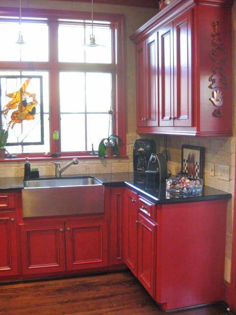 cuisine peinte rouge DIY Pinterest