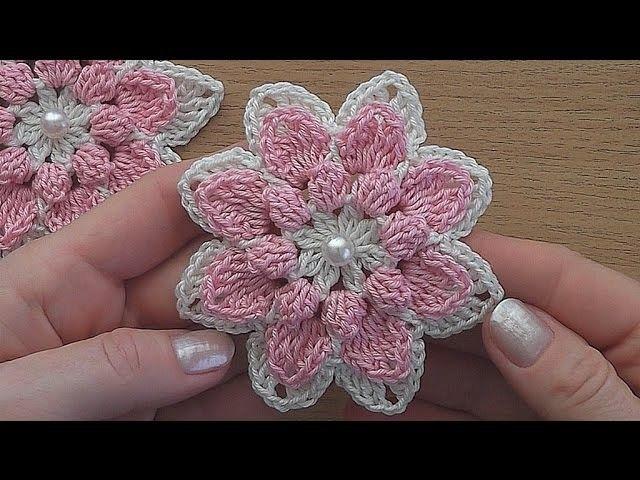 crochet flower tutorial very easy blumen h keln bl ten h keln und h ckeln. Black Bedroom Furniture Sets. Home Design Ideas