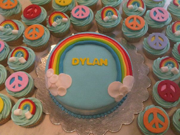 Rainbow and Peace sign Cupcakes