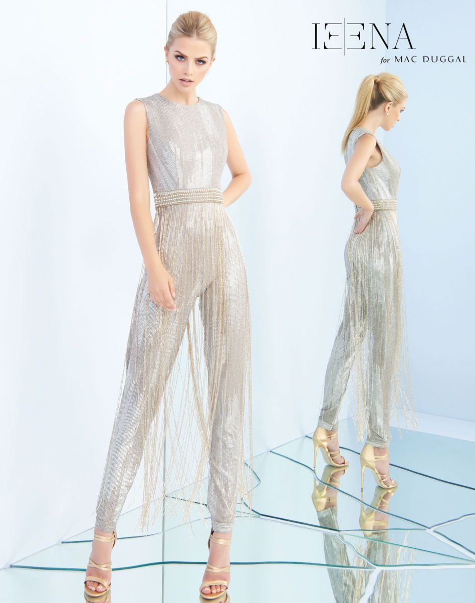 0acdaaf9f5 Metallic ribbed jersey jumpsuit featuring a beaded belt at waist  embellished with long beaded fringe.