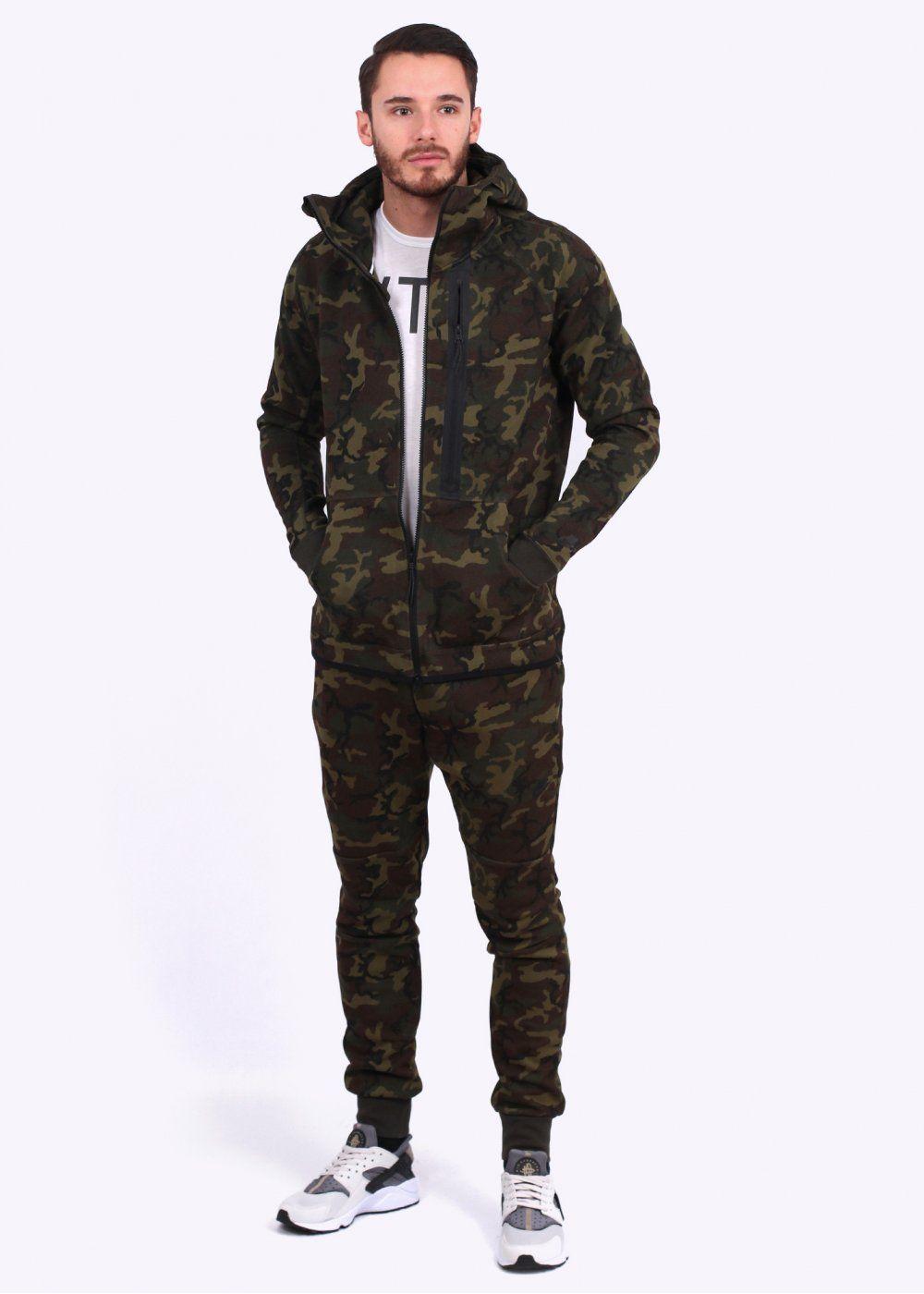 nike apparel tech fleece camo hoody green sportwear. Black Bedroom Furniture Sets. Home Design Ideas
