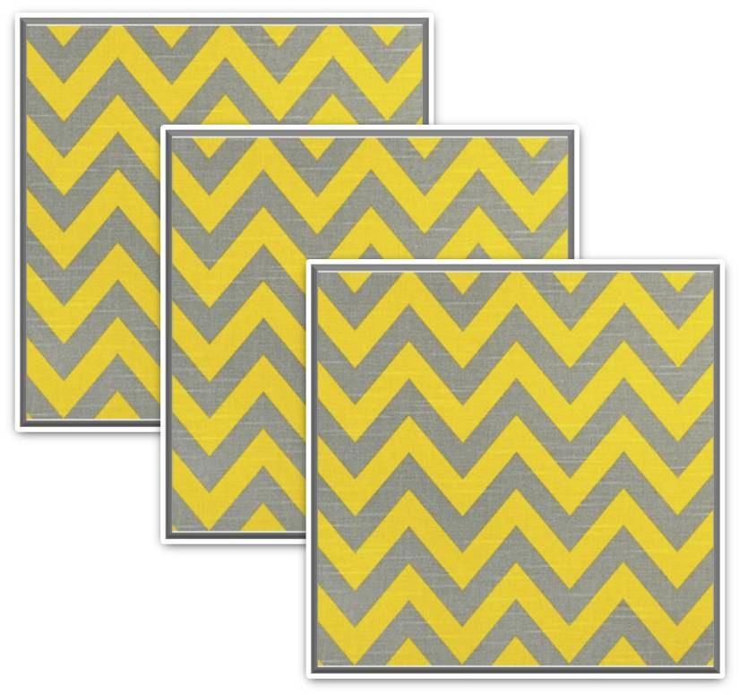 Grey yellow chevron Wall Plaque Wall Decor, set of 3. $14.99, via ...
