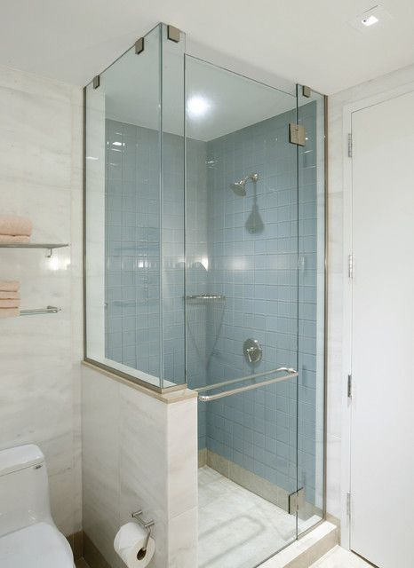 Good size reference for our current shower and bath Do not like the glass going all the way up to the ceiling - shower stall sizes
