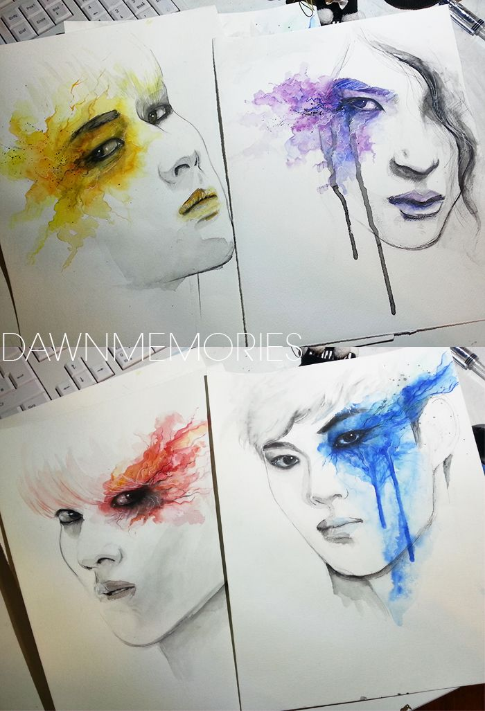 i m selling these vixx watercolor paintings they re all 24x32cm