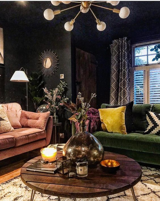 Boho Library Wall Living Room: How To Decorate Dark Walls Around Light Hardwood Floors In
