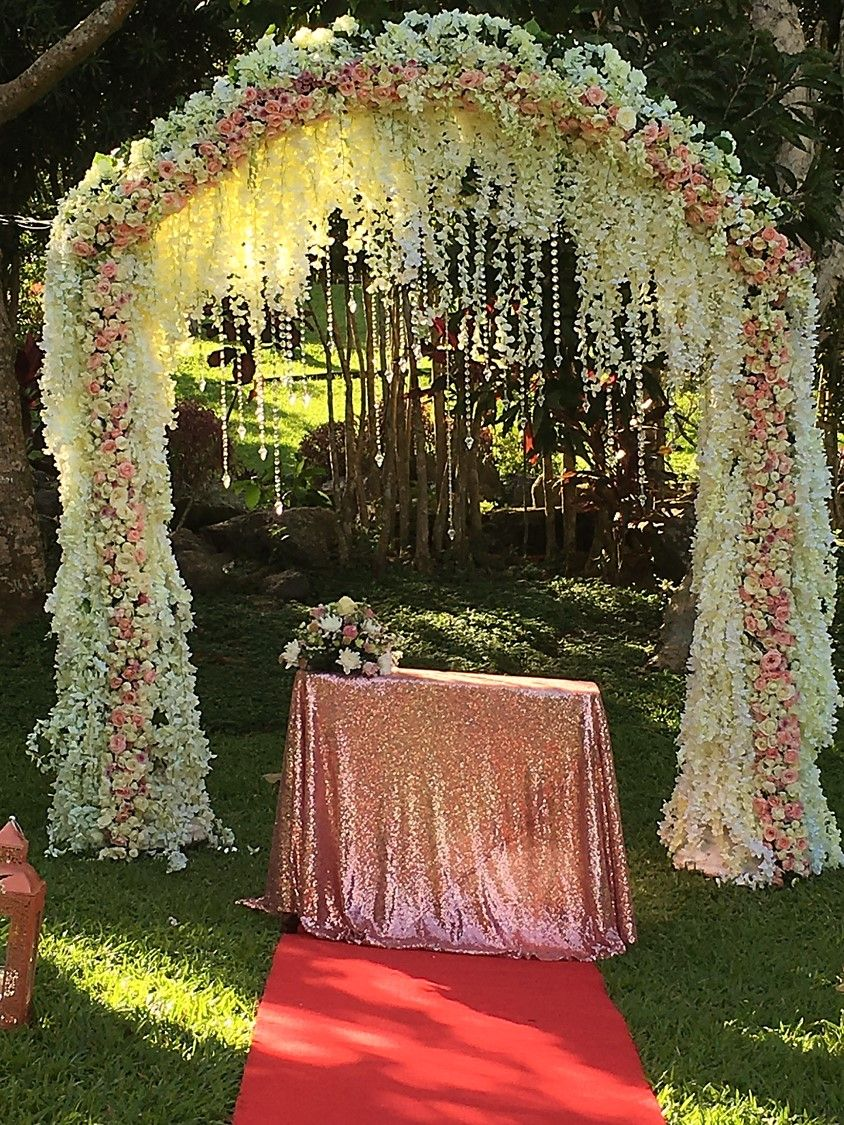 Ville Somet Garden ceremony arbor of lush wisteria and a full arch ...