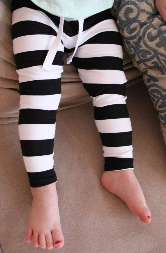 Baby Leggings Black & White Stripes with Faux by Saravadesigns ...
