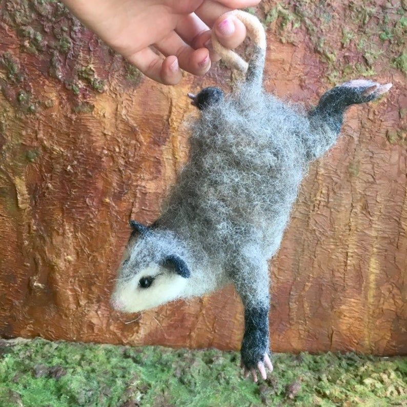 Cute Needle Felted Possum Realistic Animal Etsy In 2020 Felt Animals Wool Animals Animals