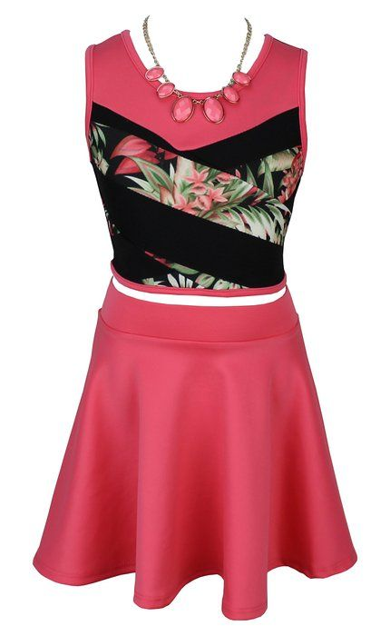 69dd0eb18e4 Just Kids Crop Top With Necklace And Skater Skirt Set For Girl Size 4 Coral  Color