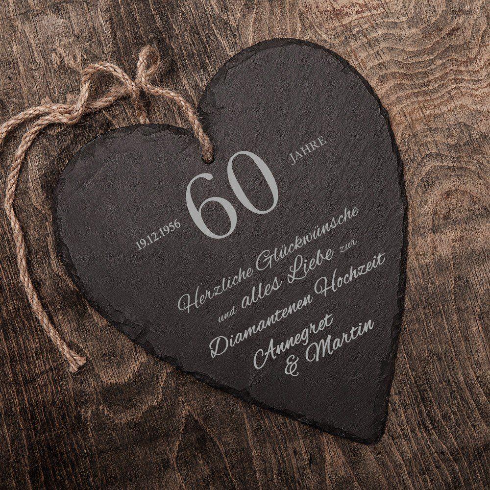 Schieferherz zur Diamantenen Hochzeit mit Gravur Personalisiert