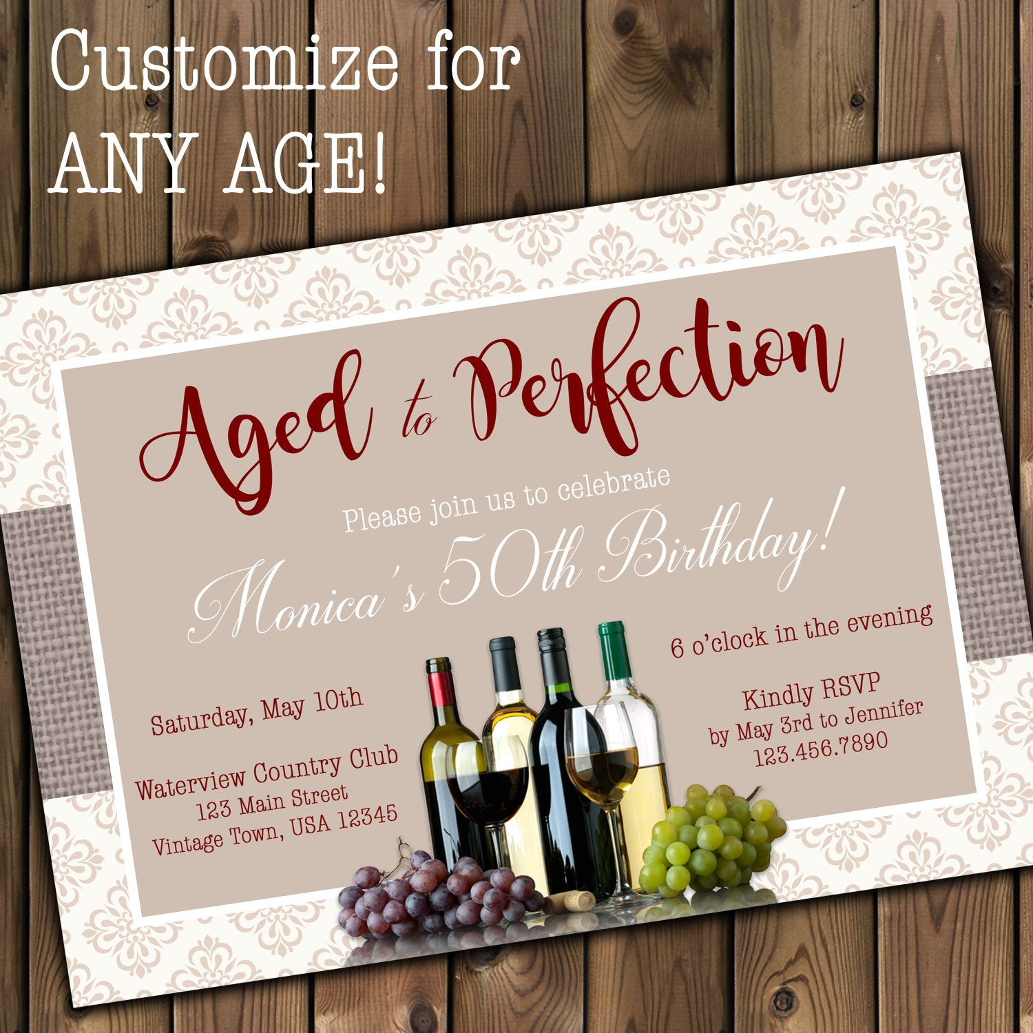 Aged To Perfection Invitation Wine Birthday Invitation Adult