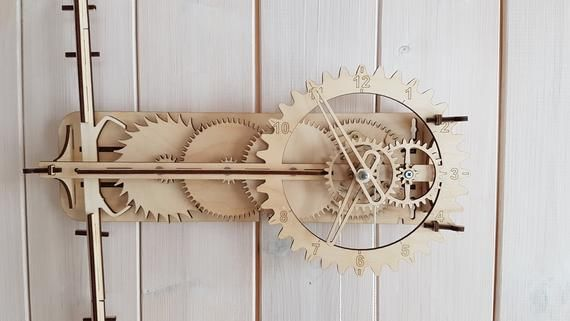 Wooden Clock Assembly Kit Wooden Gear Mechanical Pendulum Clock