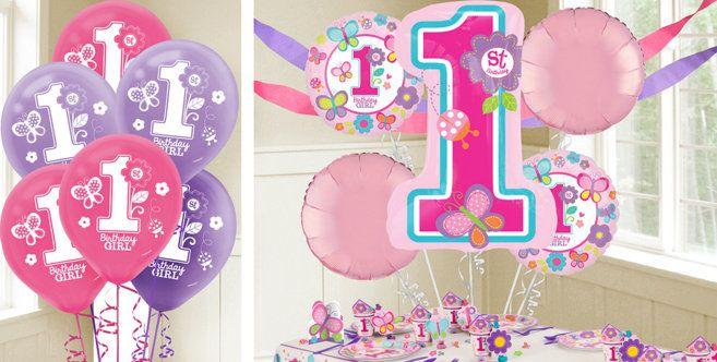 Sweet Girl 1st Birthday Balloons