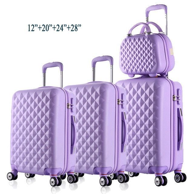 "Minimalist 12""20""24""28""4Piece Diamond lines Trolley suitcase travell case luggage Pull Rod trunk rolling spinner wheels ABS boarding bag Lovely - Cool trunk luggage Photos"