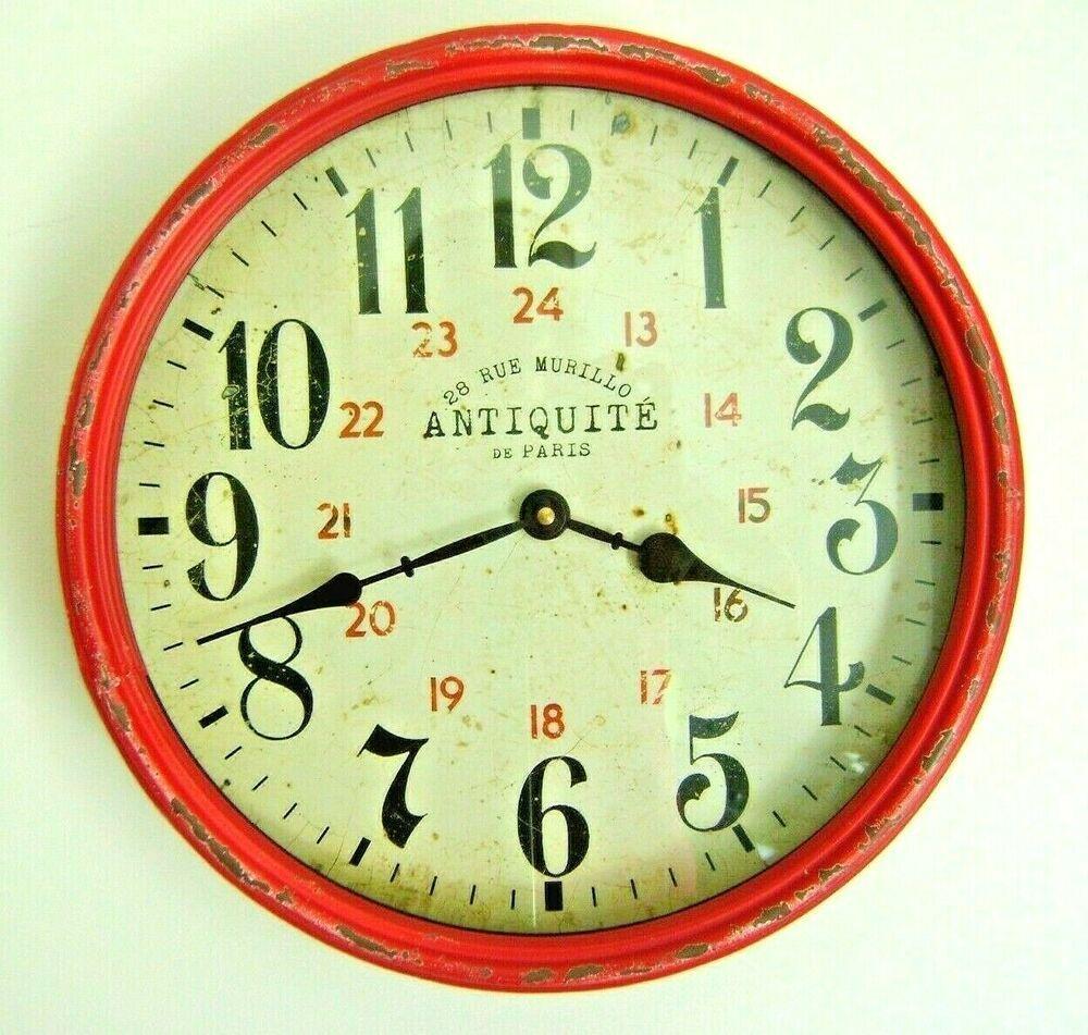 Antiquite De Paris 28 Rue Murillo Wall Clock Red Distressed Metal Rim Retro 12 Fashion Home Garden Homedcor Clocks Wall Clock Paris Wall Clock Paris Wall