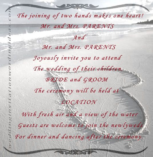 beach wedding invitation wordings are generally less formal than