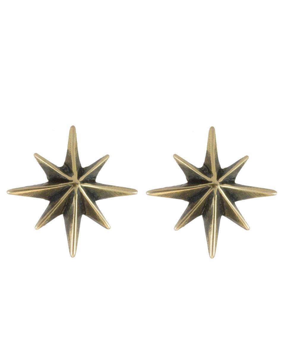 Gypsy Star Stud Earrings in Brass