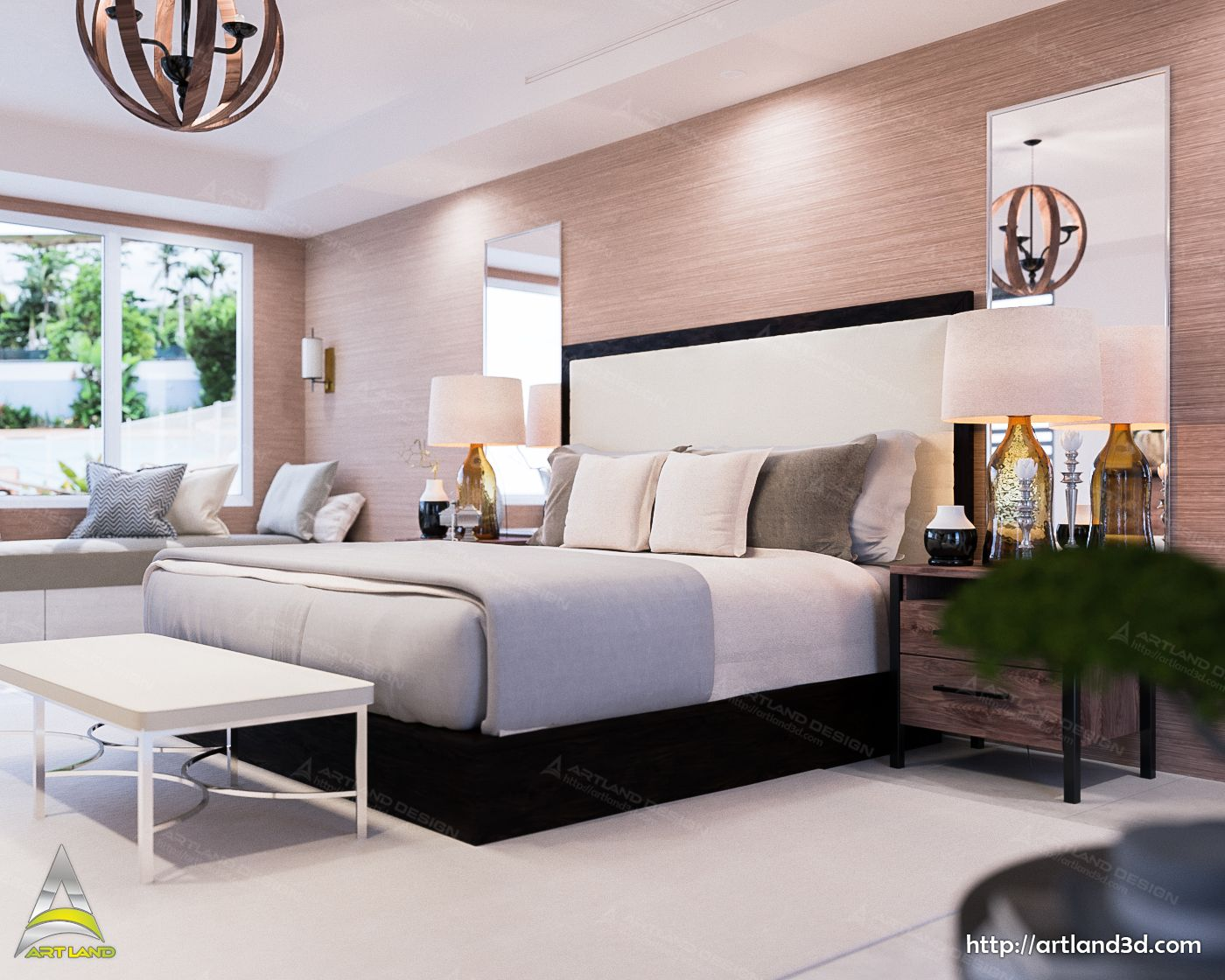 Modern Bedroom Interior Design 3d Realistic Visualization And