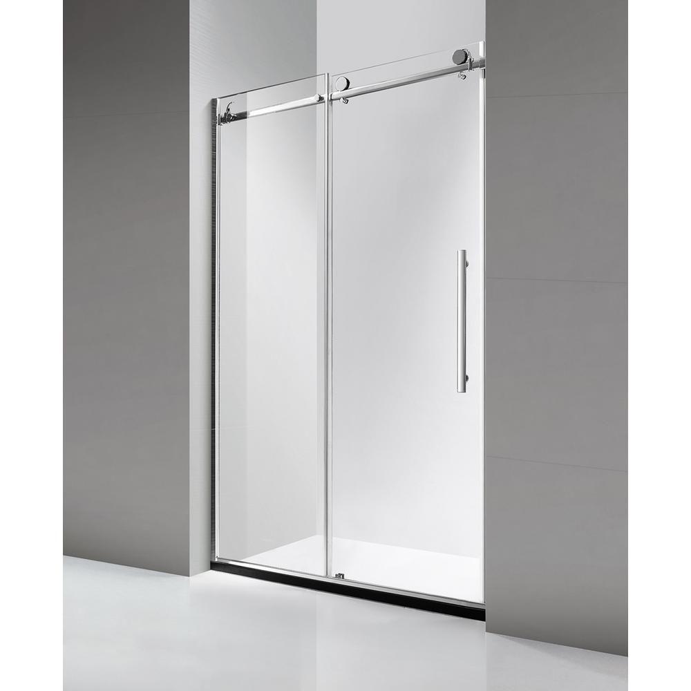 Dreamwerks 60 In X 79 In Luxury Frameless Sliding Shower Door In Stainless Steel Sb3328l Frameless Sliding Shower Doors Shower Doors Sliding Shower Door