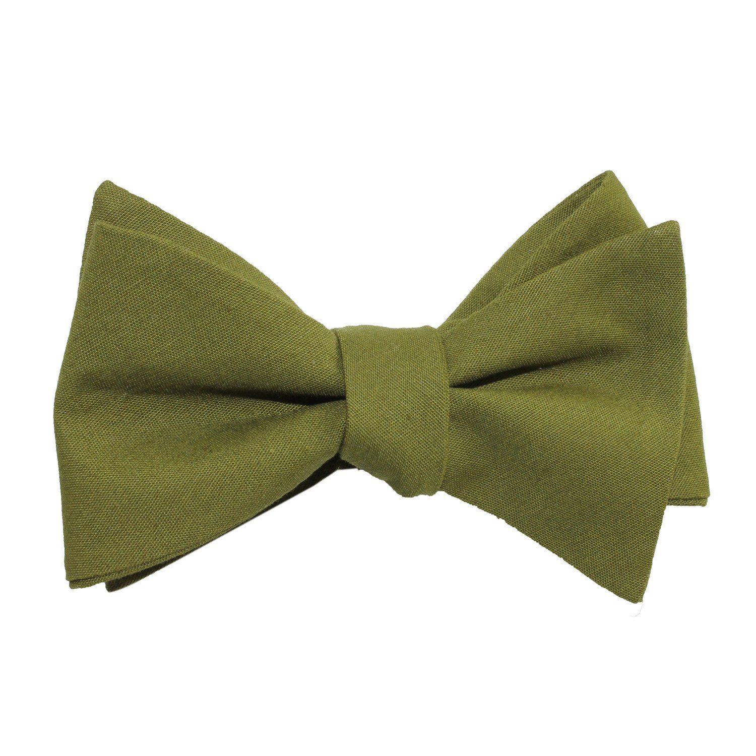 e971c278e64e Army Green Cotton Self Tie Bow Tie | Men's Tuxedo Suit Bow Ties UnTied for  Men