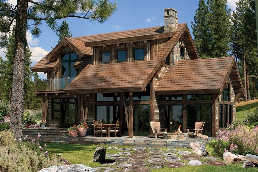 Casa rustica de madera campestre bonita y chimenea de - Casas de piedra y madera ...