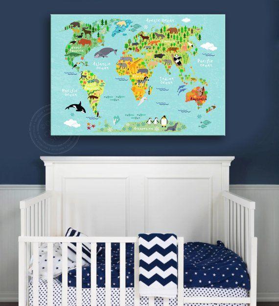 CHILDREN WORLD MAP, Kinderzimmer Dekor, Kinderzimmer