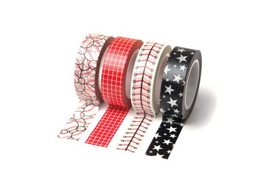 1 x 10m Roll Adhesive Craft Washi Tape 15mm Black Hearts//Red Trim