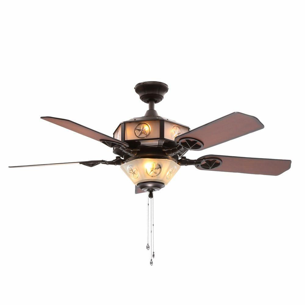 Hampton Bay Lonestar 52 In Aged Copper And White Rock Ceiling Fan With Etched Glass Str09 The Home Depot
