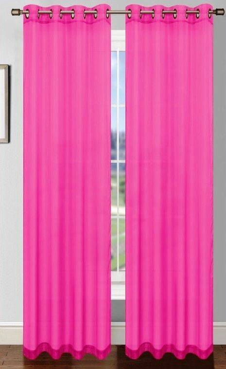 Platinum Sheer Voile Curtain With Grommets Fuschia Pink