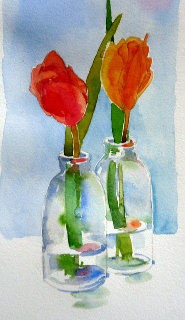laura's watercolors: tulips again