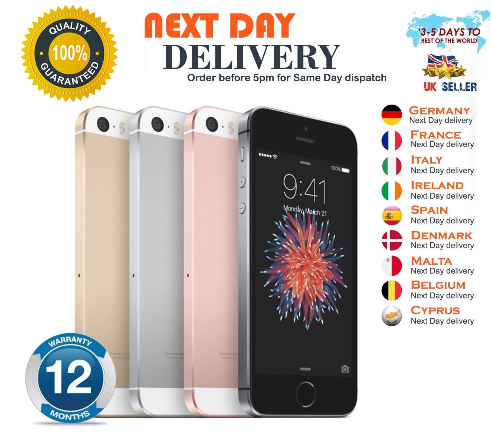 Smartphone Apple iPhone se Desbloqueado 16 32 64 128GB red de grado Varios