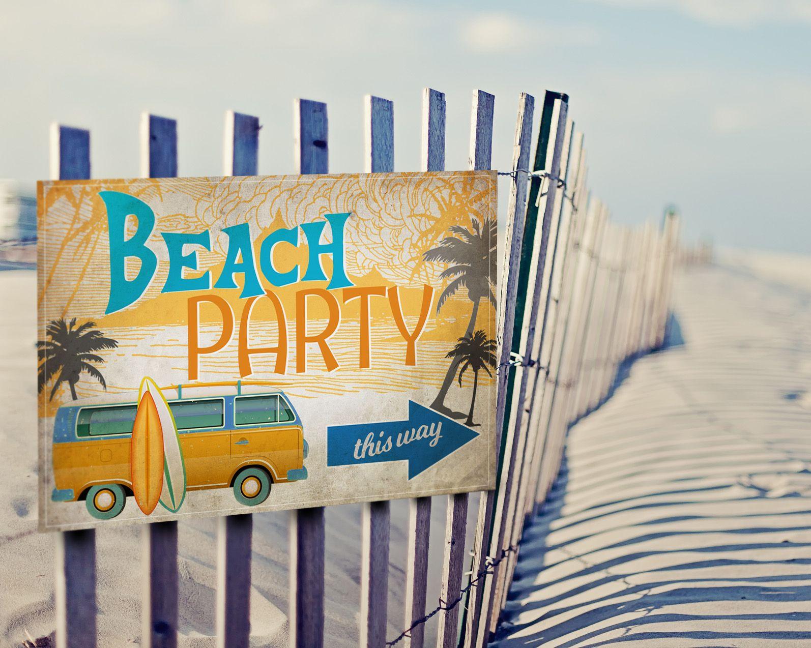 Vintage Surf Party Posters graphic design Pinterest