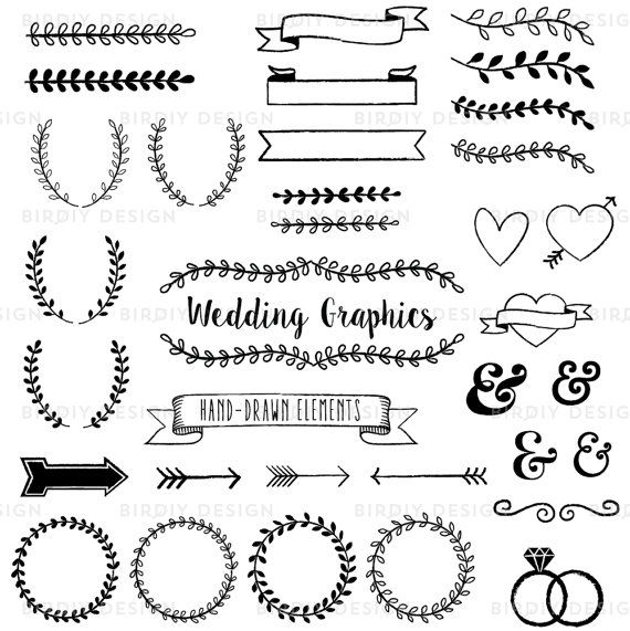 Hand Drawn Wedding Clip Art Set Adobe Ilrator Vector And Photo Brush Instant Graphic Design Resources