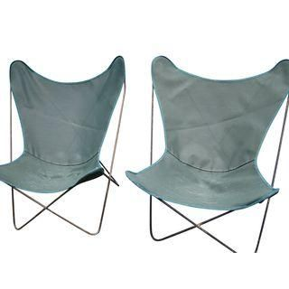 A Pair Of Vintage Wrought Iron Butterfly Chairs Crafted Of Hefty, Solid Iron,  Not
