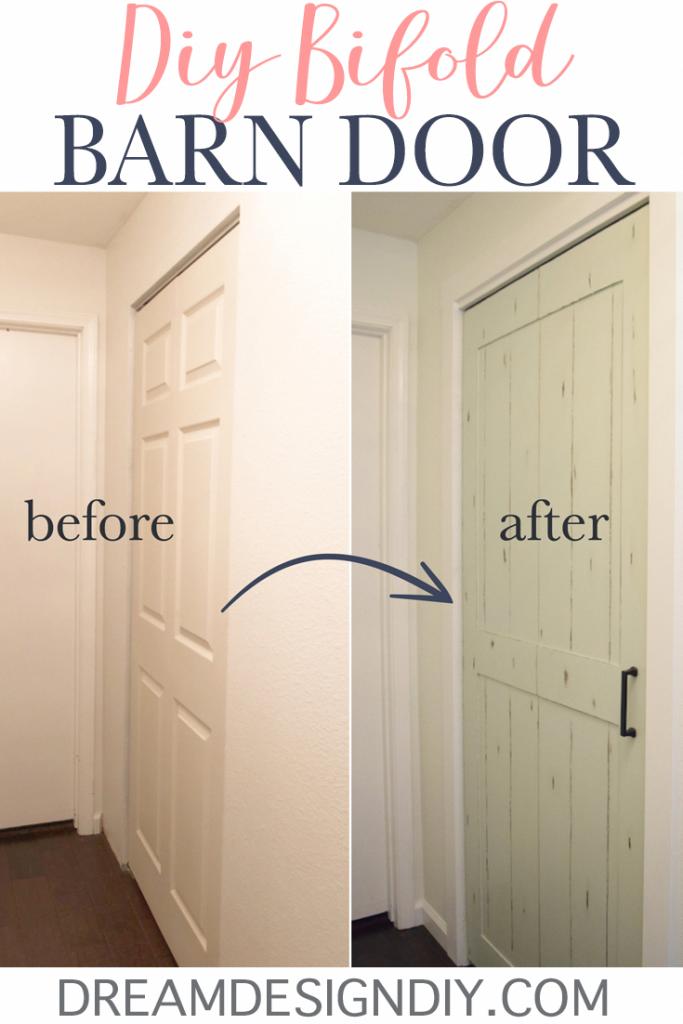 Diy Bifold Barn Door Transform A Closet Door For 15 With 1 4 Plywood Bifold Barn Doors Diy Door Laundry Room Doors