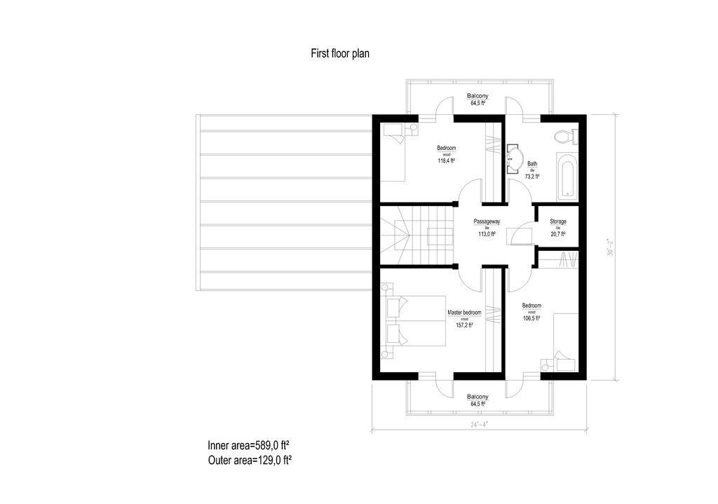 European Style House Plan - 3 Beds 1 Baths 1815 Sq/Ft Plan #549-9 Floor Plan - Upper Floor Plan - Houseplans.com