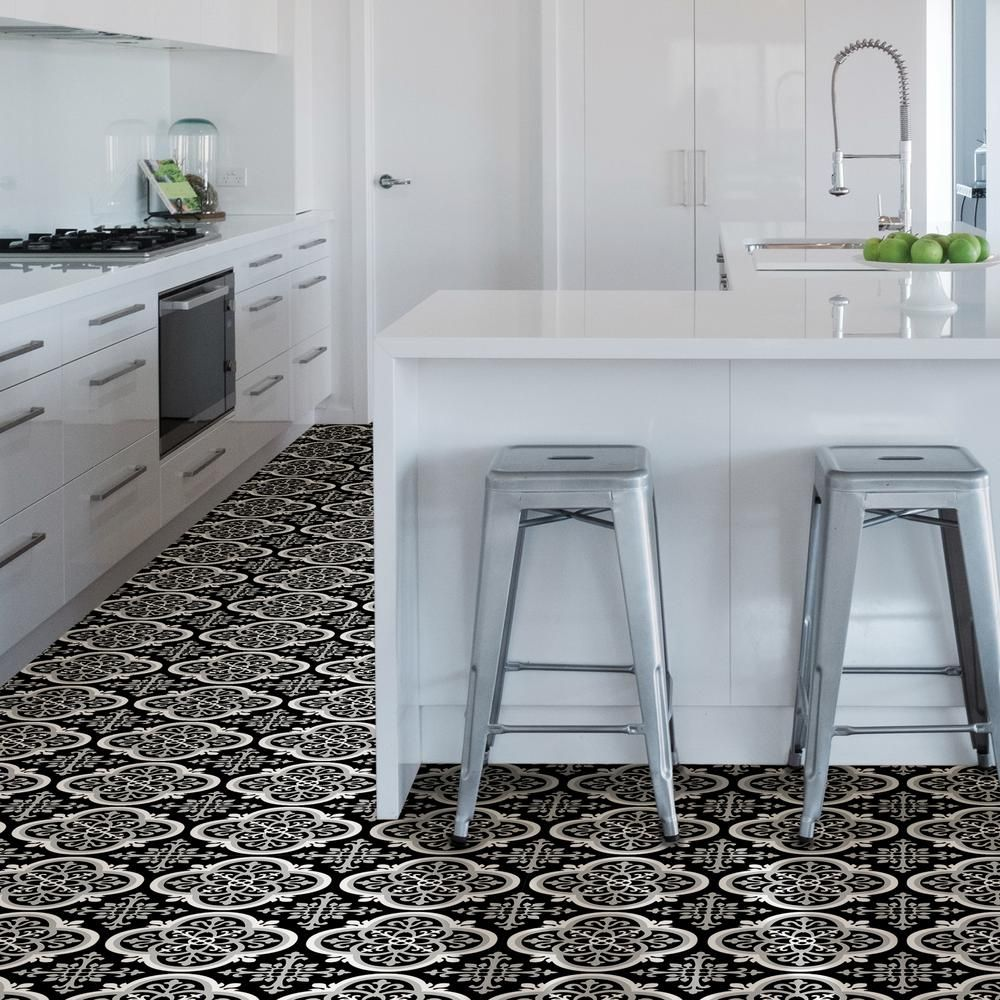 Floorpops 12 In X 12 In Damascus Peel And Stick Floor Tiles Qty Of 20 Tiles 20 Sq Ft Fp3001 The Home Depot Peel And Stick Floor Kitchen Floor Tile Kitchen Flooring